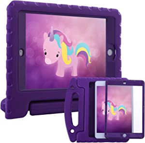 HDE Case for iPad Mini 1 2 3 Kids Shockproof Bumper Hard Cover Handle Stand with Built in Screen Protector for Apple iPad Mini 1st 2nd 3rd Generation (Purple)
