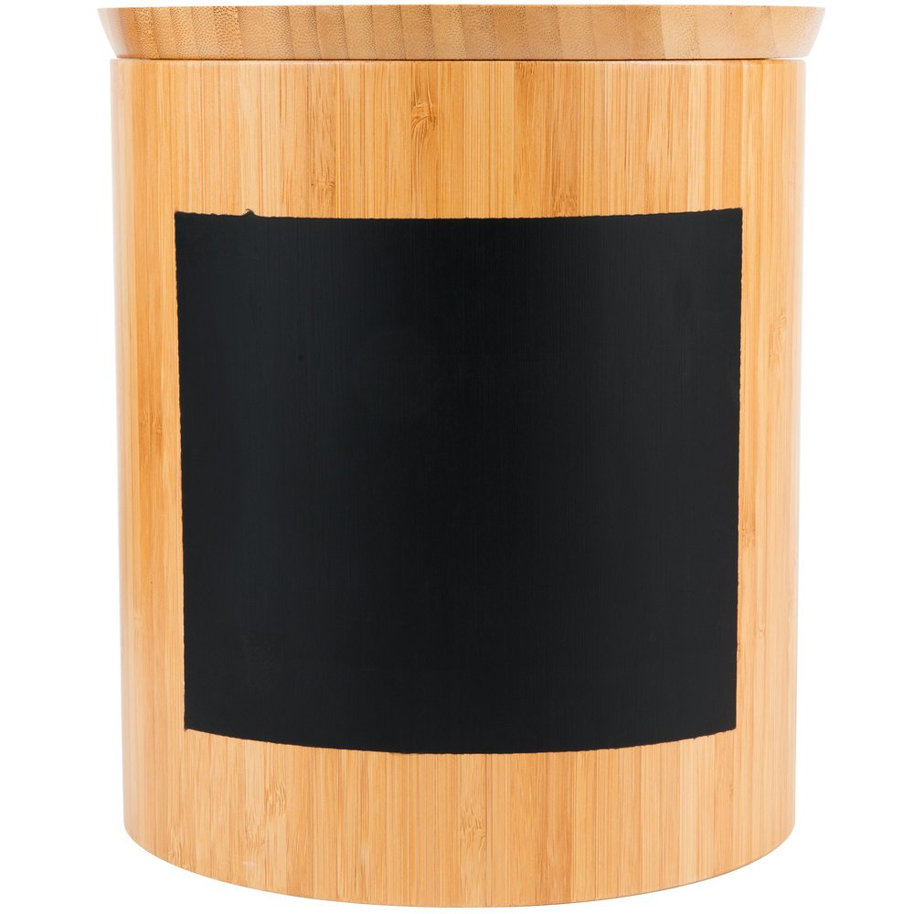 Tablecraft RCBR9910 Write-On 9'' x 10'' Bamboo Round Storage Container with Chalkboard Pack of 12 by TableTop King