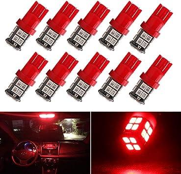Red Color Led Car Lights T10 194 Led Interior Lights Red Dome Light Bulb x 10 Packs