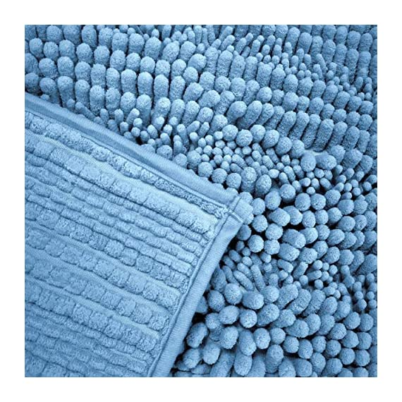 Polyte Premium Microfiber Shaggy Chenille Bath Mat Non Slip, 20 x 32 in / 17 x 24 in, Set of 2 (Blue) - Experience the plush and super soft feeling of our microfiber shag bath mat Ultra-absorbent chenille microfiber captures water, preventing a slippery wet floor Keeps your feet comfortable, cozy, and protected from the hard cold floor - bathroom-linens, bathroom, bath-mats - 61NIQRpbf8L. SS570  -