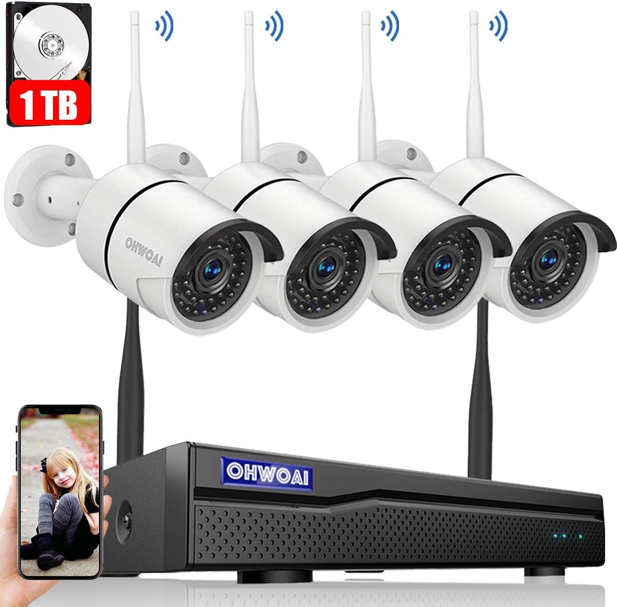 8CH Expandable Security Camera System Wireless Outdoor, 8 Channel 1080P NVR With 1TB Hard Drive , 4Pcs 960P CCTV Cameras For Home,OHWOAI Surveillance Video security System,Outdoor Wireless IP Cameras