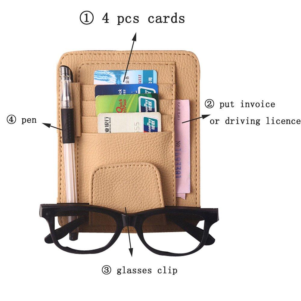 ZATOOTO Car Visor Organizer Sun Shade Card Storage Holder Pouch Bag Glasses Holder Storage Beige