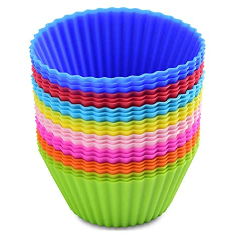MUXItrade Moldes de horneado de silicona, reutilizables capsulas para cupcakes magdalenas (24 pcs)