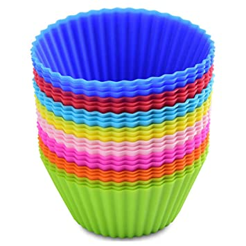 MUXItrade Moldes de horneado de silicona, reutilizables capsulas para cupcakes magdalenas (24 pcs): Amazon.es: Hogar