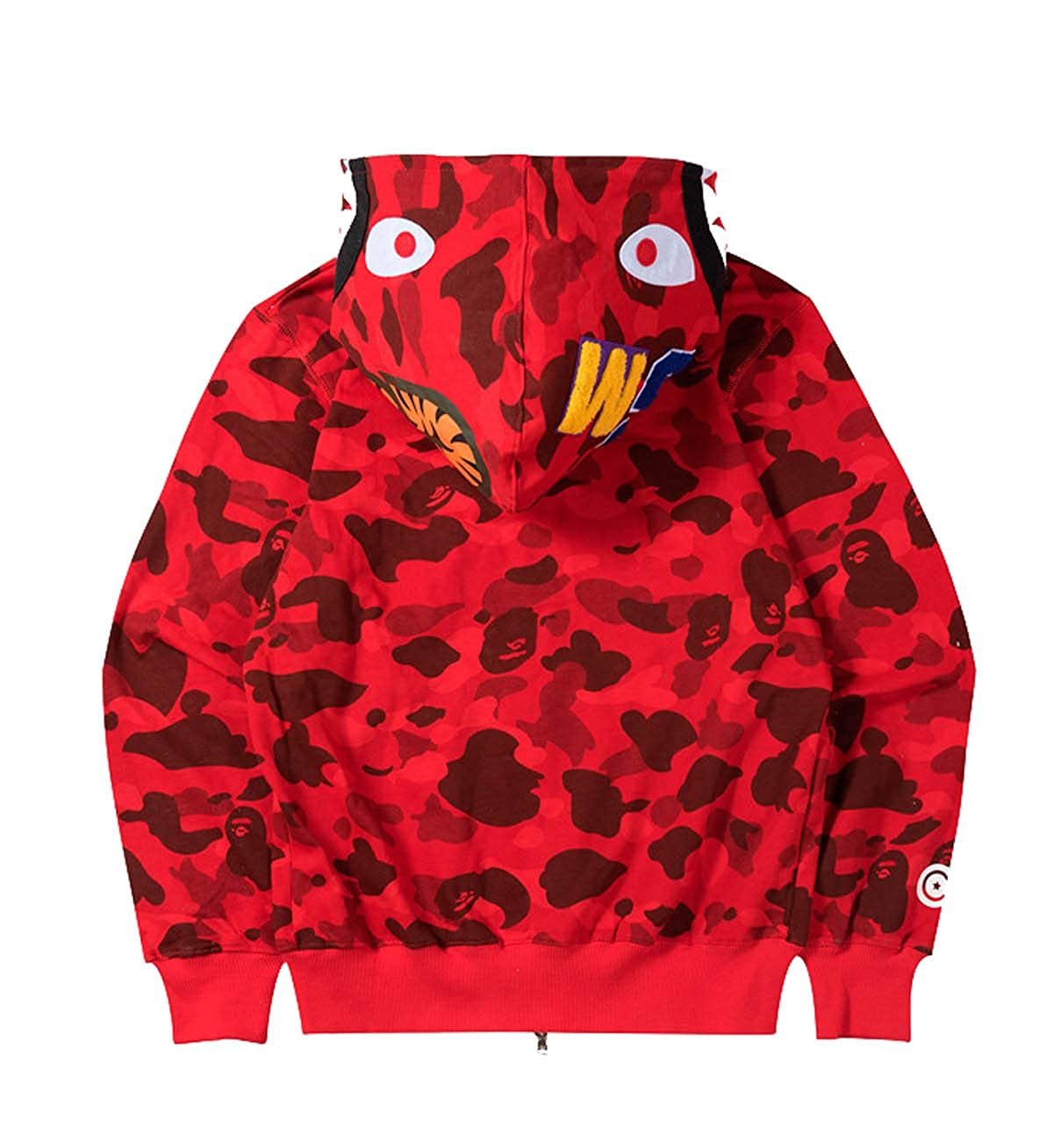 Men's A Bathing Ape BAPE Shark Head Thin Coat Full Zipper Camouflage Jacket Hoodie