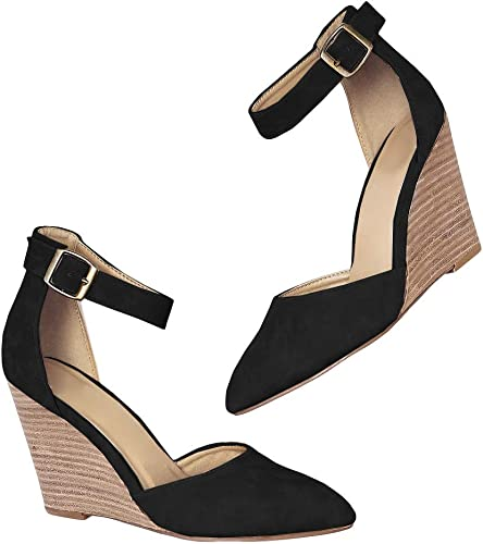 Womens Stacked Wedge Sandals Closed Toe