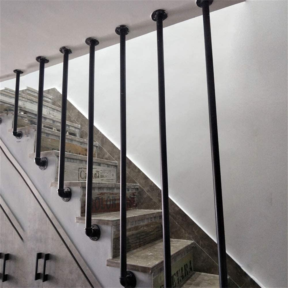 Industrial Wind L-Shaped Stair Railing Simple Modern Wrought Iron Fence Retro Villa Fence Attic Railing Bar Handrail Complete Kit.Iron Galvanized Pipe