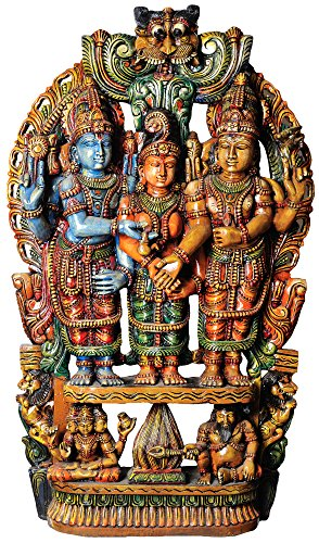 Kalyansundaram (Marriage Scene of Shiva and Parvati) - South Indian Temple Wood Carving
