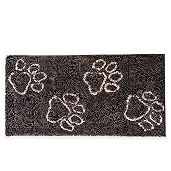 "Microfiber Made Indoor Brown Doormat Printed with Paws Pattern, 24"" x 48"""