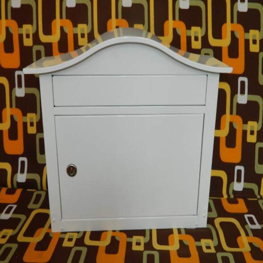 RMJAI メールボックス ポストボックス、メールボックス、ロック可能なレターボックス、壁掛け亜鉛メッキ鋼防水デザインポストボックス (色 : 白)  白 B07RBSL11R