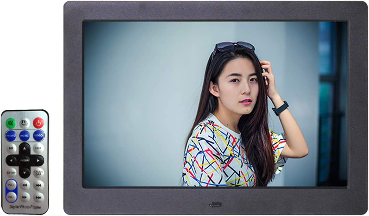BDHBB Digital Photo Frame 10 Inch 1024/×600 Resolution Display Photo//Music//Video Player Calendar with Remote Control Digital Picture Frame,White