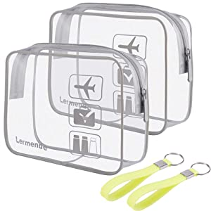 2pcs/pack Lermende Clear Toiletry Bag TSA Approved Travel Carry On Airport Airline Compliant Bag Quart Sized 3-1-1 Kit Luggage Pouch (Grey)