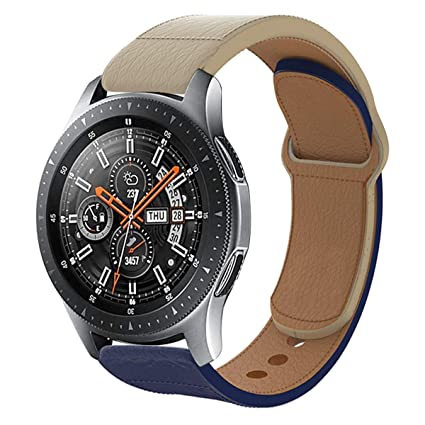 Haojavo Leather Watch Band for Samsung Galaxy Watch 46mm, Quick Release Top Leather Watch Band for Samsung Gear S3 Classic/Frontier Huawei Watch 2 ...