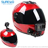 SUREWO Helmet Jaw Swivel Arm Mount and Adhesive Mounts - 2pcs Curved and 2pcs Flat Mounts with 10 Pack Sticky Pads for GoPro Hero 6 5 Black,4 Session,4 Silver,3+,SJ6000,YI,LD6000,Sony Sports DV and More