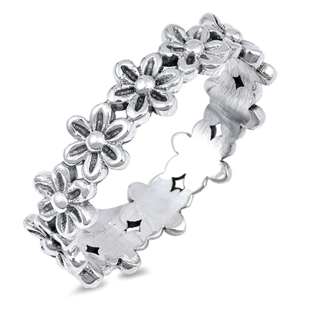 Plumeria Flower Eternity Promise Ring .925 Sterling Silver Daisy Band Size 7