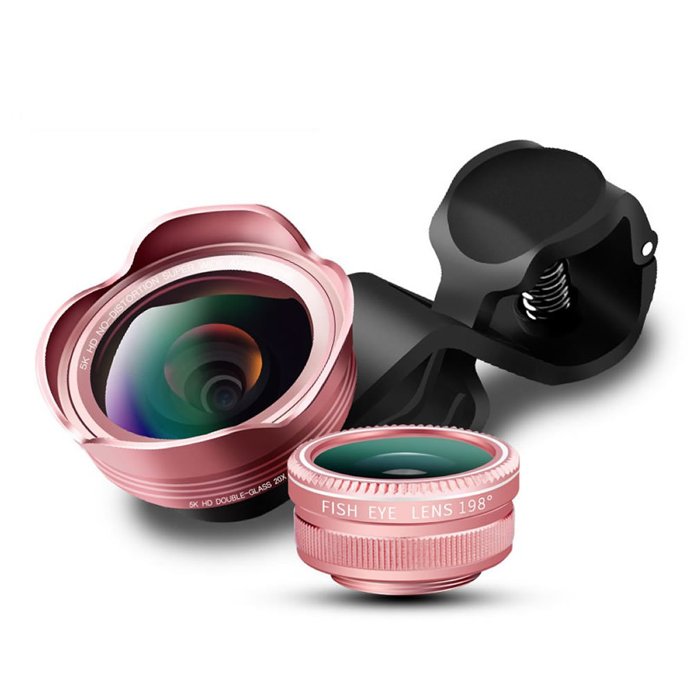 XIHAMA 3in 1clip-on cellulare fotocamera lente kit, 0.45x super grandangolo + obiettivo fisheye 198° + 20x obiettivo macro, per iPhone 8, 7, 6S, 6, 5S & Samsung & smartphone, d25