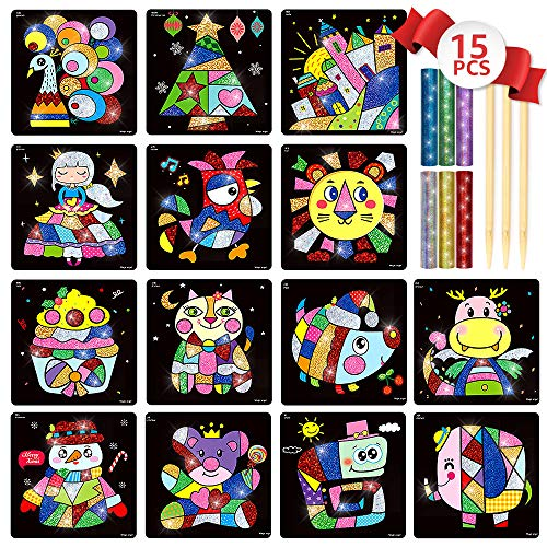 (Transfer Sticker Set Shimmer and Shine Sparkle Mosaic Sticker Painting Art Sticky DIY Handmade Arts and Crafts for Kids- Kindergarten Educational Crafts Toys - Scratch Art - 15PCS Different (Fairy))