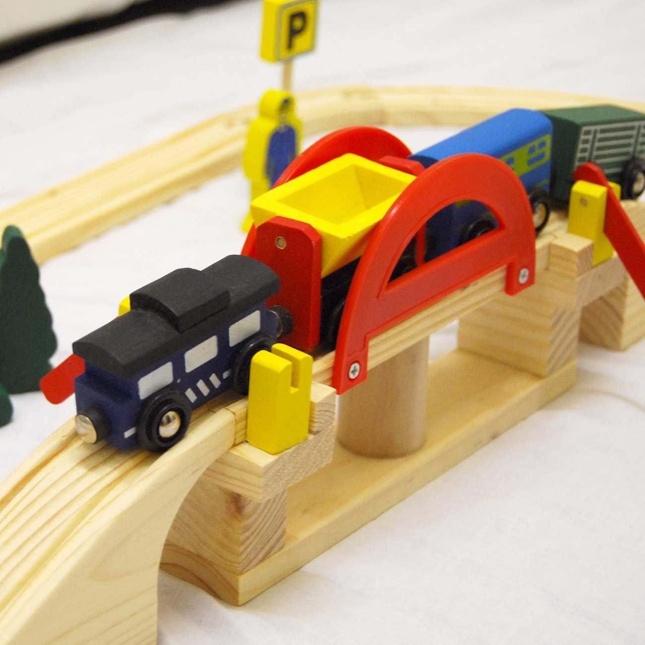 eyepower Tren Ferrocarril Accesorios 120 piezas de madera 8 metros ...
