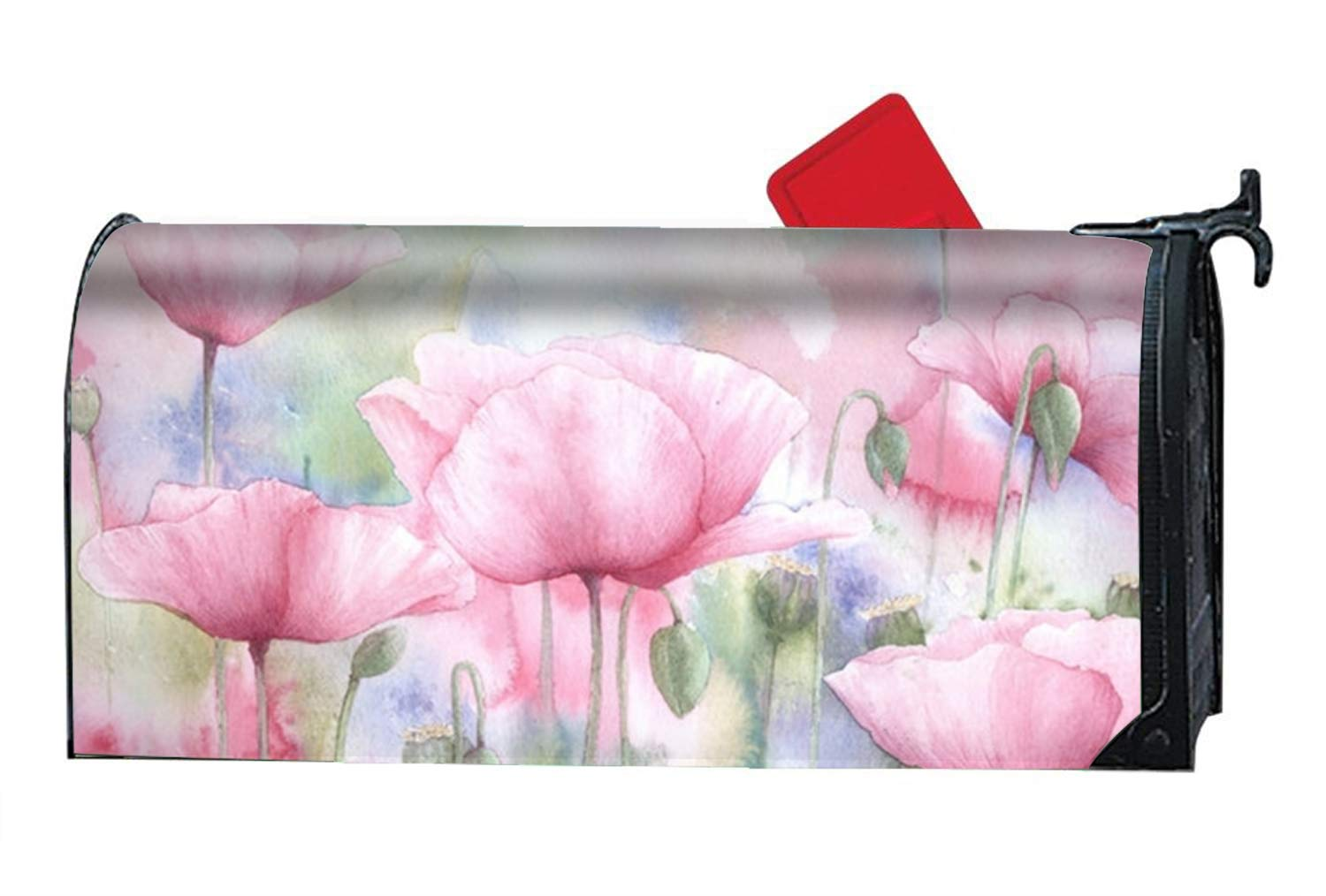 Verna Christopher Magnetic Mailbox Cover - Pink Poppies Themed,Decorative Mailbox Wrap for Standard Size