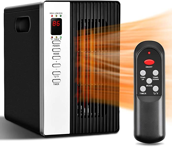 Space Heaters for Indoor Use - Room Heater with Remote Control, 515 SqFt Coverage, 30% Energy Saving, 1500W/1000W/ECO, Tip-Over & Overheat Shut-off, Infrared Heater Portable Electric for Home & Office
