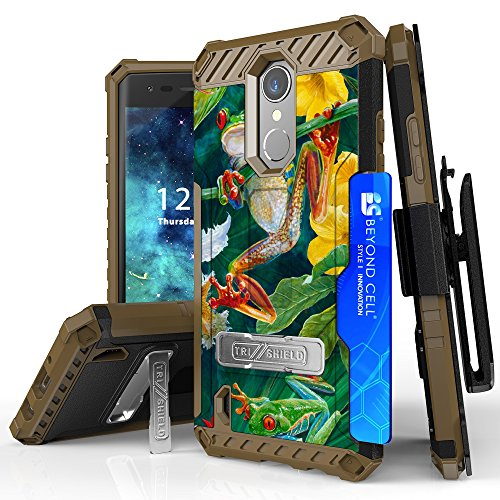 LG Aristo, Phoenix 3, LG Fortune, LV3, LG K8 2017, Risio 2, Rebel 2 LTE Case, Trishield Durable Phone Cover With Lanyard Loop Holster And Built in Kickstand Card Slot - Frogs Wild