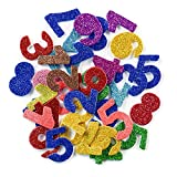 [6 Pack]Colorful Glitter Letter Foam Stickers Self-Adhesive Letters Numbers 1-9 Stickers for Kids Creative Toys DIY Scrapbooking Card Making Accessories, Assorted Mixed Colors