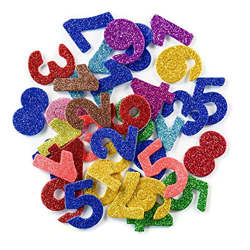 [6 Pack]Colorful Glitter Letter Foam Stickers Self-Adhesive Letters Numbers 1-9 Stickers for Kids Creative Toys DIY Scrapbooking Card Making Accessories, Assorted Mixed Colors]()