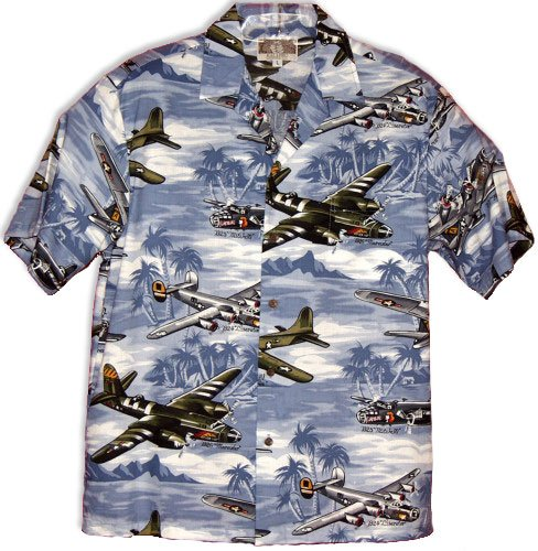 Bomber Plane And Islands Hawaiian Shirts - Mens Hawaiian Shirts - Aloha Shirt - Hawaiian Clothing - 55% Cotton/45% Rayon Blue XL