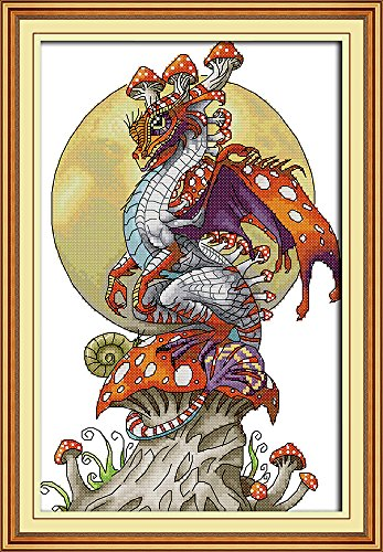 (CaptainCrafts Hot New Cross Stitch Kits Needlecrafts Patterns Counted Embroidery Kit - Mushrooms Dinosaur (STAMPED))