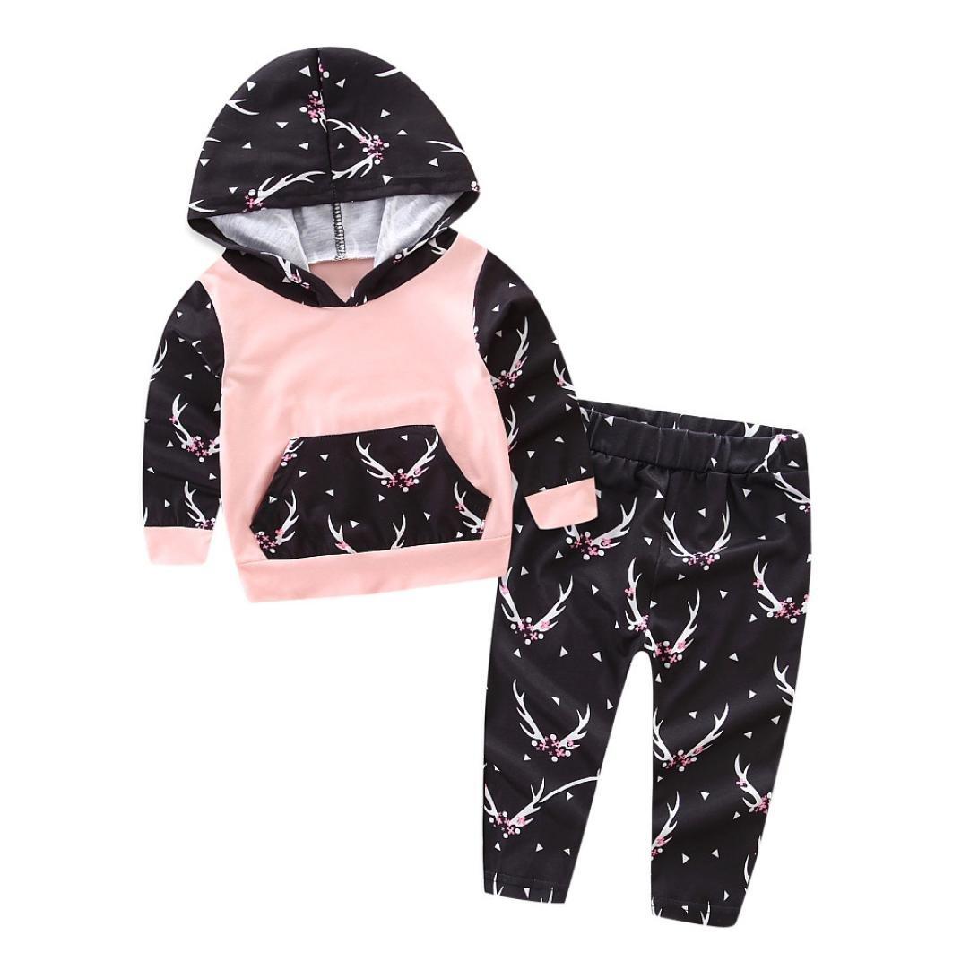 2PCS Bébés Filles T-Shirt Floral Imprimé Tops à Manches Longues Sweat-Shirt à Chapeau +Pantalons Longra Ensemble de vêtements Doux Chaud en Coton Veste d'hiver Épais pour Nouveau-né