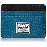 Herschel Supply Co. Men's Charlie Card Holder, Petrol Crosshatch/black, ONE SIZE