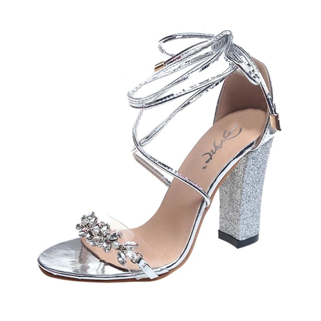 Beautyjourney Poissons Ideal Ideal Shoes Sandales, Sandales Argent Plates Strass Sandales De Plage,Les Femmes De Poissons Bouche Sandales Cheville Talons Haut Bloc Partie Ouverte Chaussures Argent ab7f134 - piero.space