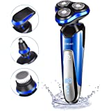 Electric Razor for Men homeasy 4D Rechargeable Battery Shaver IPX7 Waterproof Wet and Dry Mans Rotary Shaving Machine with Nose Beard Pop-up Trimmer Face Cleaning Brush 4 in 1 Mens Electronic Shavers