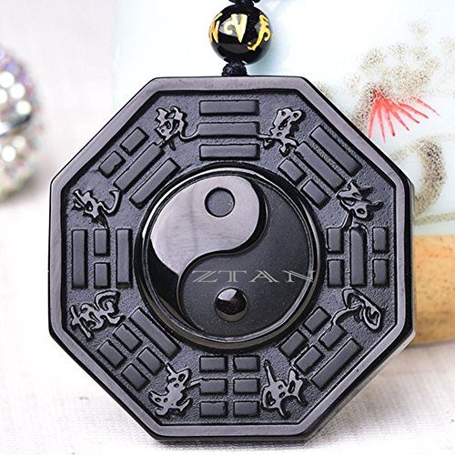 ZTAN Natural Tai Chi Black Obsidian Pendant Necklace Caved Chinese Characters Pattern with Extend Bead Chain for Men or Women (Chinese Crystal Necklace)