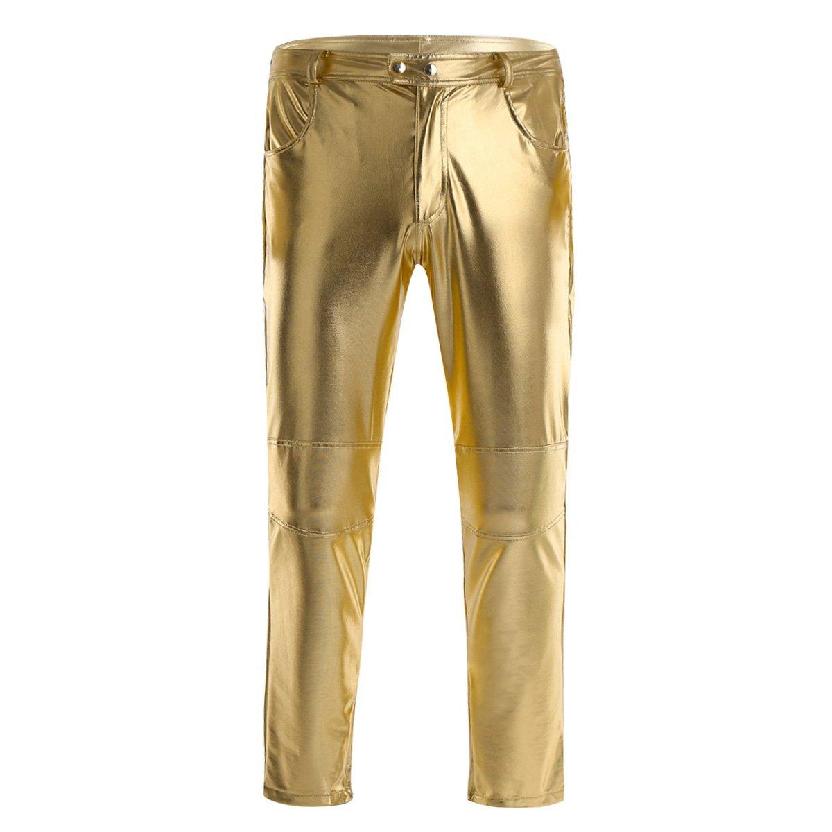 CHICTRY Men's Metallic Shiny Pants PVC Leather Skinny Biker Leggings Long Trousers