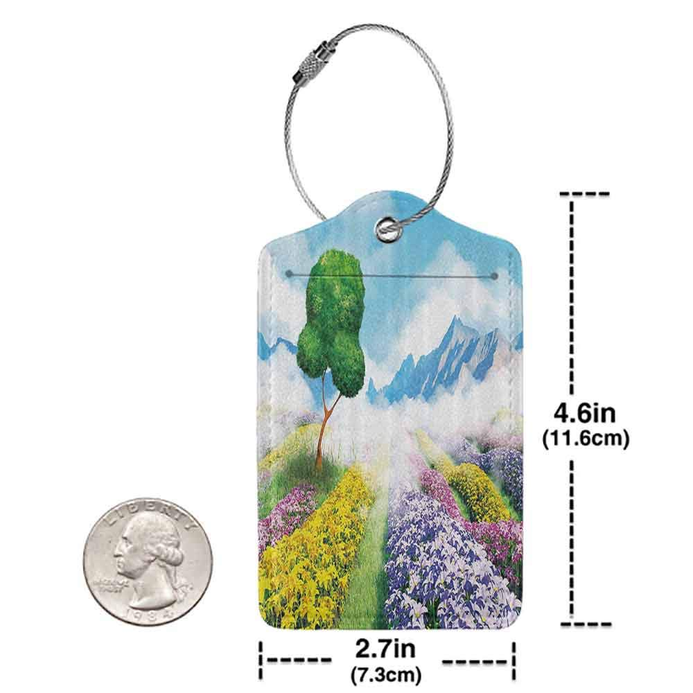 Multi-patterned luggage tag Nature Decor Print Cartoon like Scenery of Flowers Trees Gardens and Mountains Artwork Double-sided printing Multicolor W2.7 x L4.6