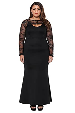 XAKALAKA Womens Plus Size White Wedding Dress with Removable Lace Bolero Mermaid Prom Gown Black XL