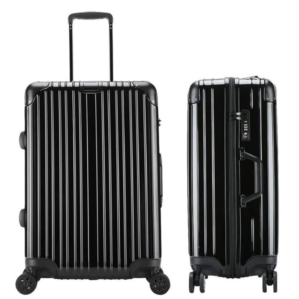 スーツケーストロリーキャリーキャリー荷物ハードシェルトラベルバッグライトウェイト4回転ホイール39cm*22cm*55cm防水、通気性、耐摩耗性、耐衝撃性 B07SCMQQFH Black