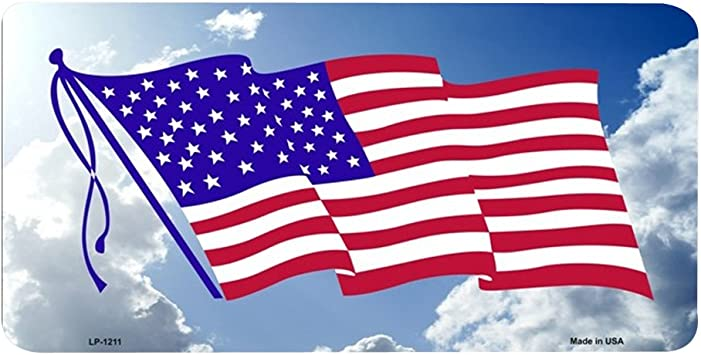 AMERICAN FLAG CLOUD BACKGROUND METAL NOVELTY LICENSE PLATE TAG