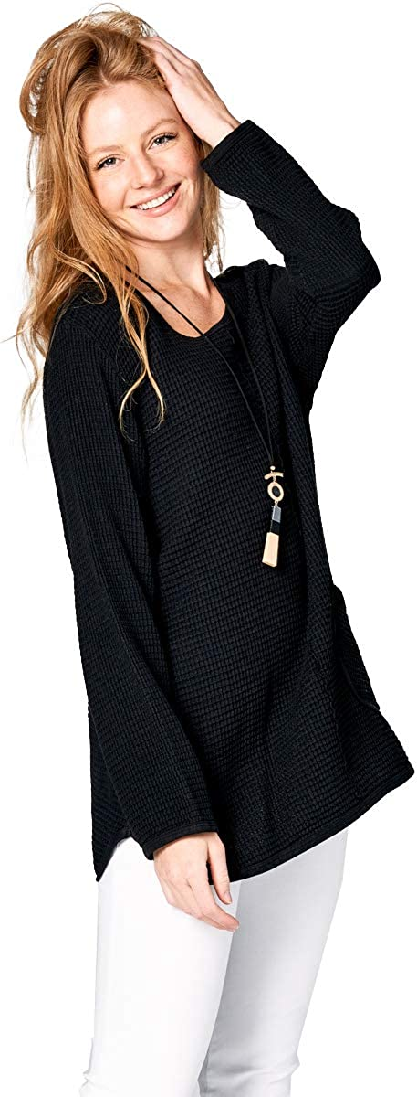 Focus Fashion Womens Cotton Feather Waffle Pocket Tunic Top