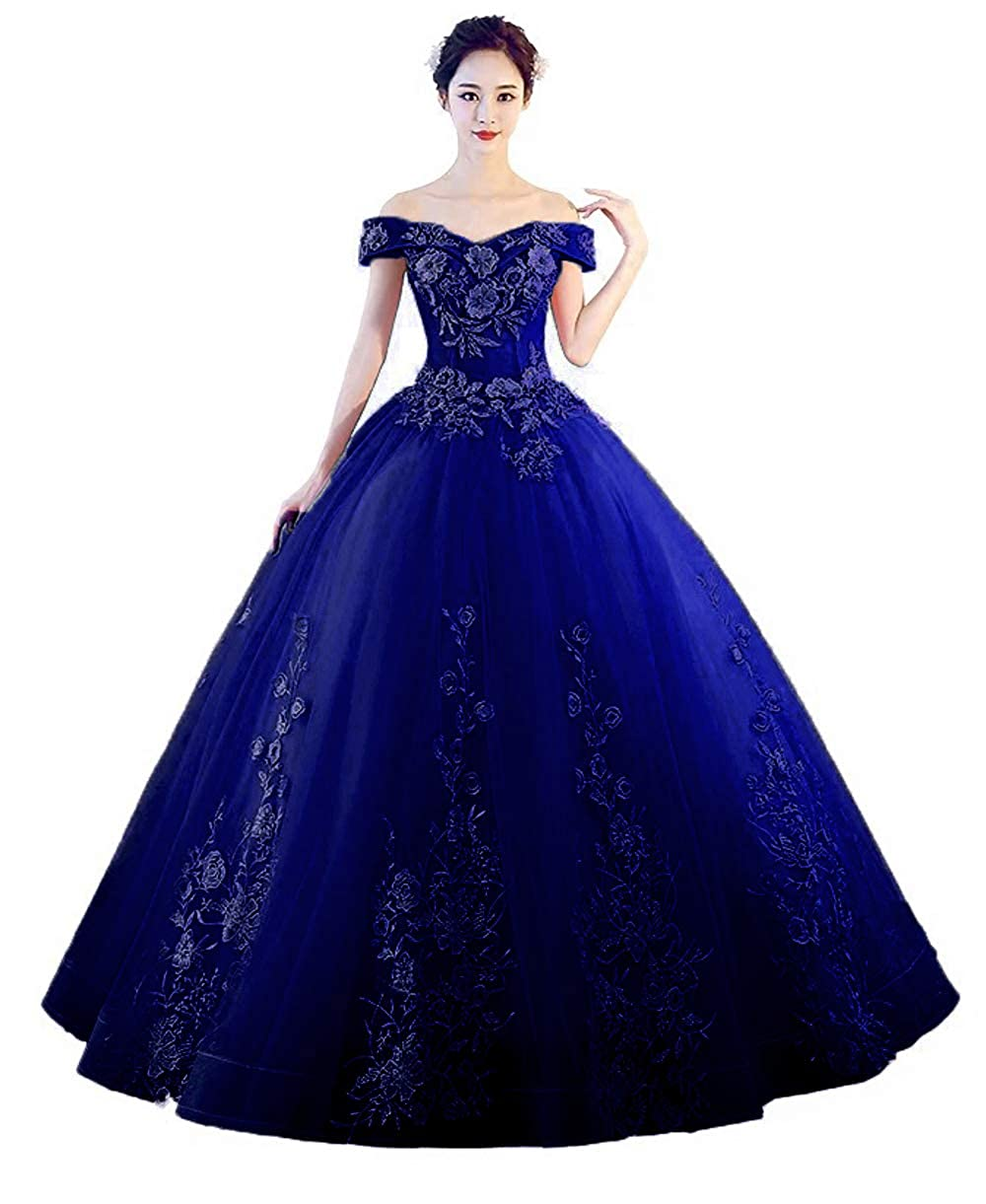 ARoyal bluee 1 LEJY Women's Off The Shoulder Quinceanera Dresses Applique Masquerade Ball Gowns Prom Dresses