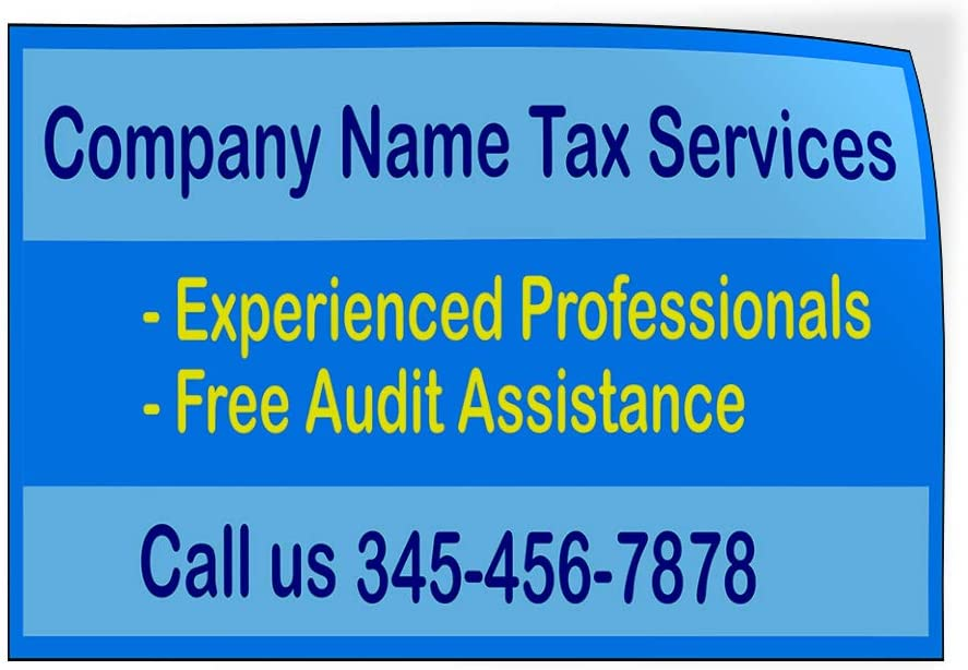 Custom Door Decals Vinyl Stickers Multiple Sizes Companu Name Tax Services Blue Yellow Business Income Tax Outdoor Luggage /& Bumper Stickers for Cars Blue 60X40Inches Set of 2