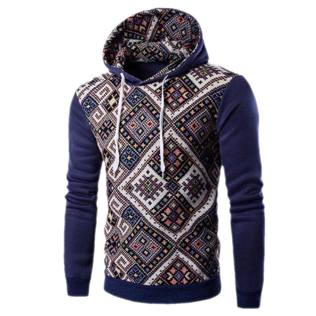 Sharemen Men Retro Long Sleeve Hooded Sweatshirt Tops Casual Coat