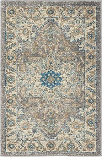 Heriz Persian Rugs Carpets - Luxury Vintage Persian Design Heriz Rug Gray 2' x 3' St.George Collection Area Rugs
