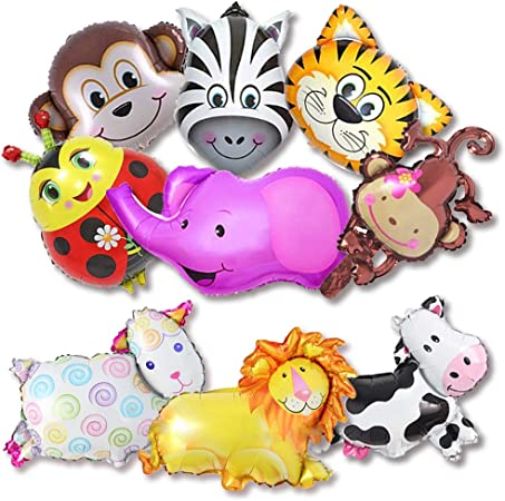 Set Of 5 Animal Heads Safari Jungle Farm Birthday Party Handheld Foil Balloon