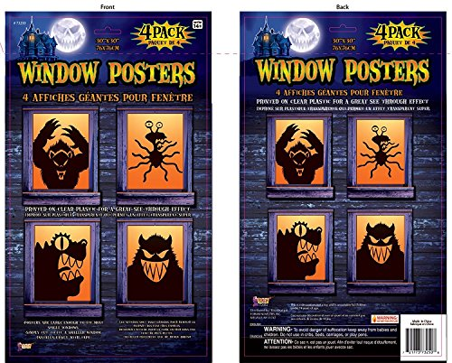 Forum Novelties 73250 M Haunted House Halloween Party Decoration Window Poster Decal Freaky Monsters]()