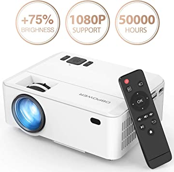 DBPOWER Projector, Upgraded 3500 Lux Mini Projector, 50000 Hrs 1080P Supported Video Projector Compatible with HDMI, USB, VGA, AV, TF, TV Stick and ...