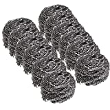 Stainless Steel Sponges Scrubbers,Pengxiaomei Package of 12 Stainless Steel Scourer Pot Brush Kitchen Utensil Cleaning Cooking Tools