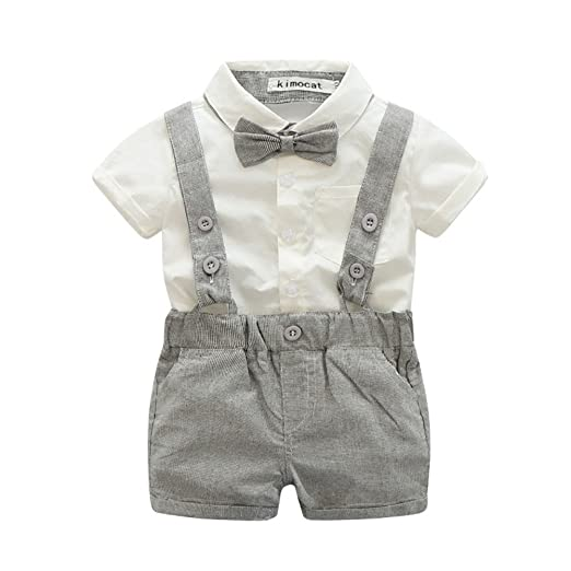 Zhengpin 2PCS Toddler Baby Boy Summer Set T-shirts Tops+Bib Pant Overalls Outfits Clothes (80(6-12Months), Gray)