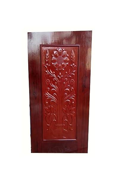 Buy The Darwaaza Wooden Exterior Door With Flower Design For Bedroom ...
